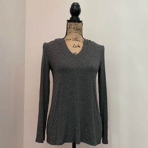 Aerie Soft Open Back Hoodie Shirt Gray Heather SM